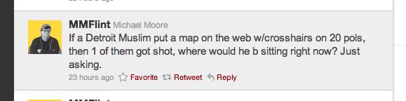 Michael Moore tweet, sarah palin, crosshairs, reload