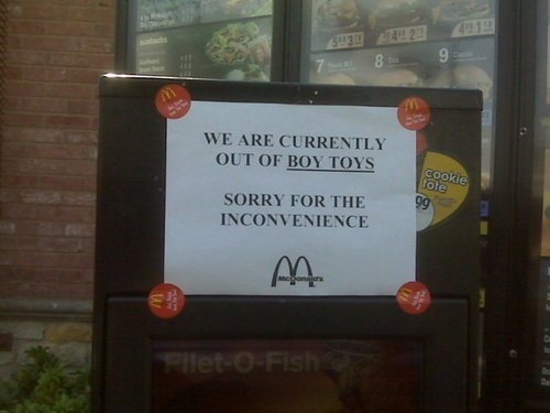 McDonald's Is Fresh Out of Twinks, Houseboys, Etc.