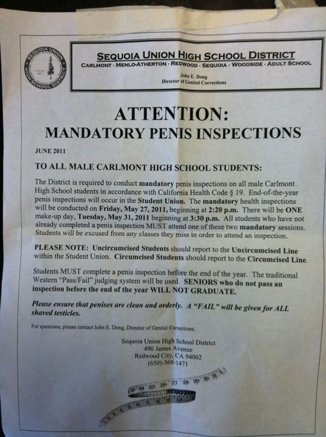 Carlton High School's Amazing Mandatory Graduation Penis Inspections Memo