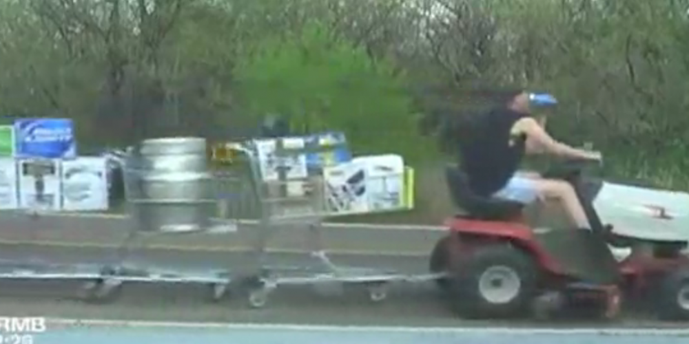 Police Cam Catches Beer-Filled Lawnmower Shopping Cart Train