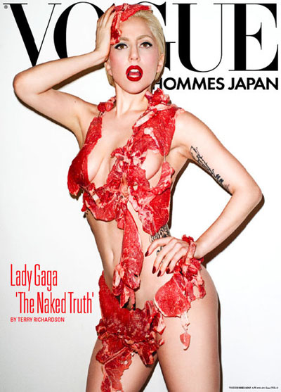 lady gaga meat bikini, lady gaga meat vogue, lady gaga meat dress jerky