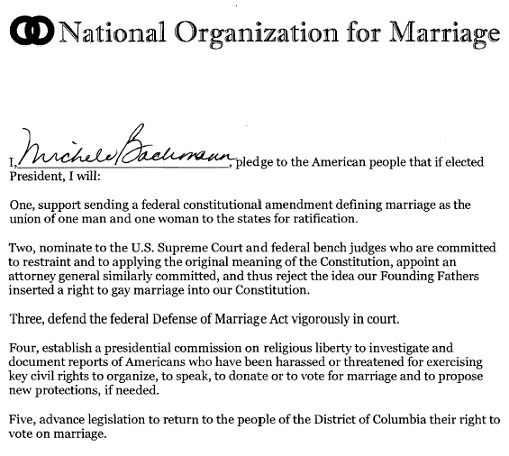 nom pledge to defeat gay marriage, bachmann nom pledge, romney nom pledge, santorum nom pledge