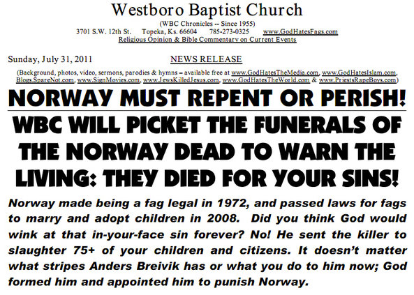 Westboro Baptist Church To Picket Norway Children's Funerals