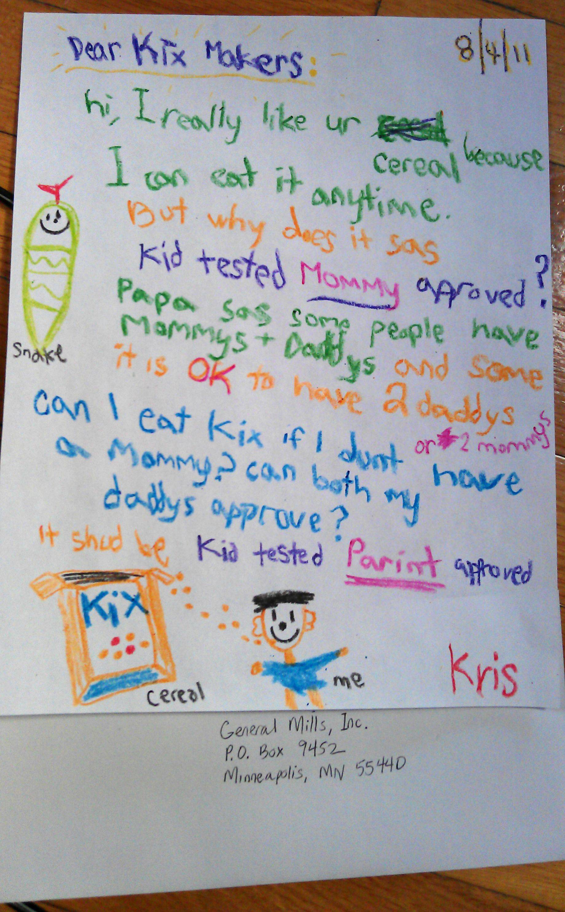 Child With Gay Dads Writes To KIX: Why Does It Have To Say MOTHER Approved?
