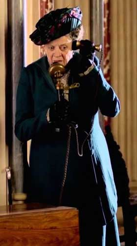 downton abbey, downtown abbey, countess dowager, maggie smith, using a telephone,