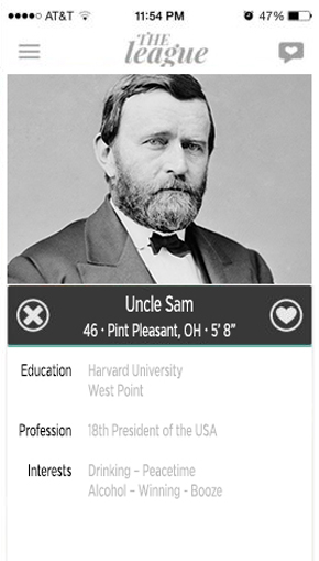 ulysses s grant, abe lincoln, president, dating profile, hookup, hook up app, the league