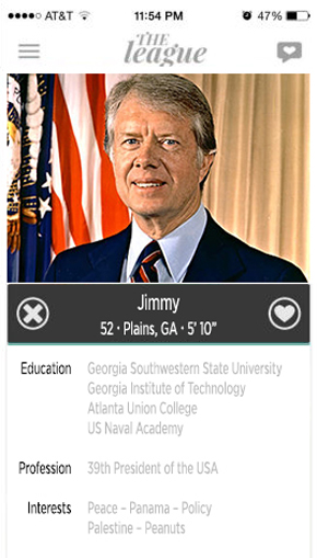 jimmy carter, dating profile, president, the league