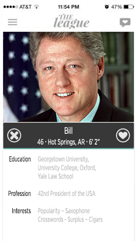 bill clinton, abe lincoln, president, dating profile, hookup, hook up app, the league