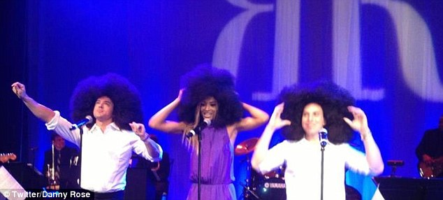 Two Jewfros and Ciara in an Afro perform at the Jewnicorn wedding.