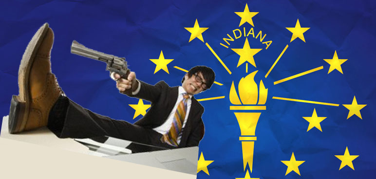 Indiana flag, shoot self in foot, gun, man, shoe, Asian, desk, stars