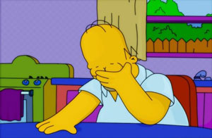 facepalm, homer simpson, cartoon