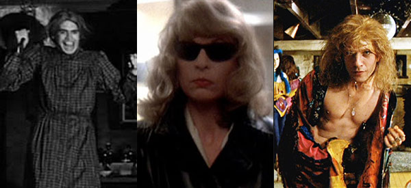 Anthony Perkins as Norman Bates in Alfred Hitchcock's Psycho (1960), Michael Caine as Bobbi in Brian De Palma's Dressed to Kill (1980), and Ted Levine as Buffalo Bill in Jonathan Demme's The Silence of the Lambs (1991).