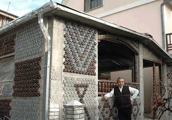Serbian math professor Tomislav Radovanovic had his students collect 13,500 plastic bottles for his newly constructed home. It has a concrete foundation with the windows and kitchen furniture built entirely out of plastic bottles as well. It took five years to build, and you can see a video of its inside here — the interior is surprisingly beautiful.