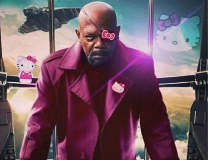 Nick Fury, The Avengers, pink, Hello Kitty