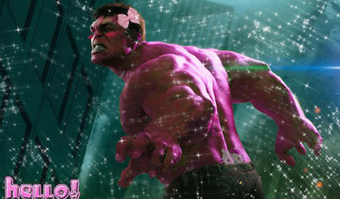 The Incredible Hulk, The Avengers, pink, Hello Kitty