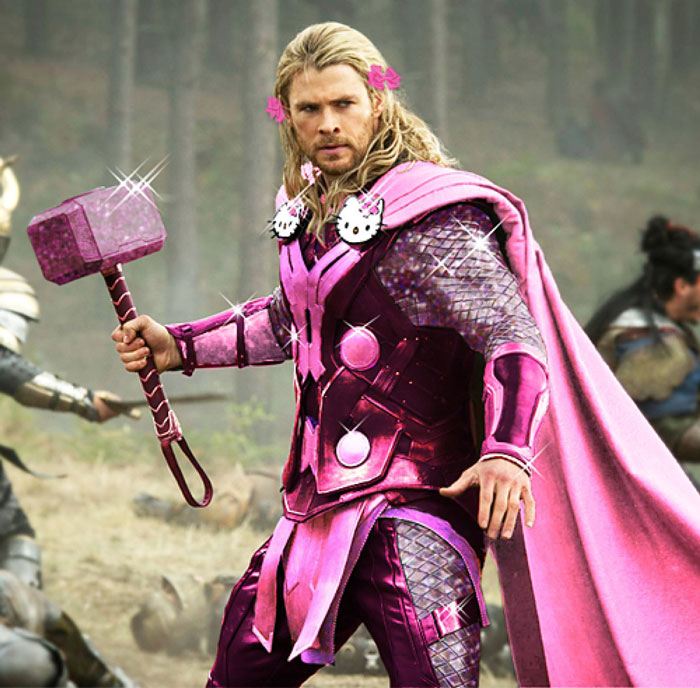 Thor, The Avengers, pink, Hello Kitty