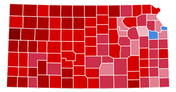 kansas, state, county map, 2012 presidential elections, results