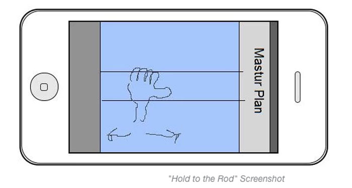 mastur-plan, app, iphobe, hold the rod, crude drawing, kickstarter