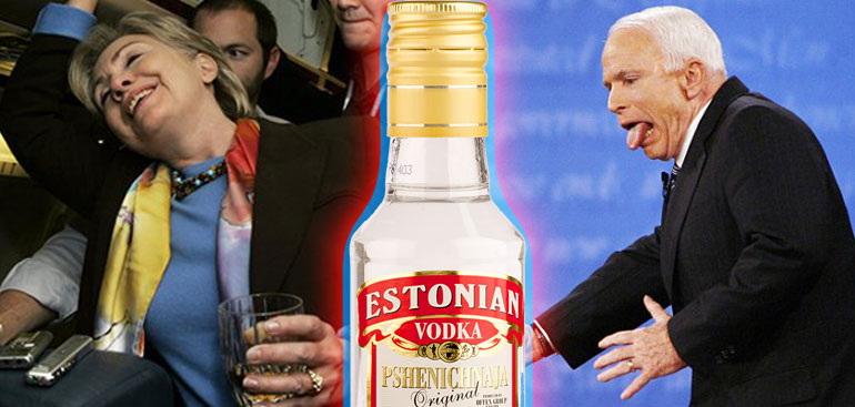Hillary Clinton, John McCain, Estonia, vodka, drunk, drinking contest