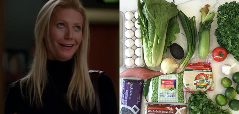 Gwyneth Paltrow, food stamp, challenge, limes, shopping cart, groceries, meal
