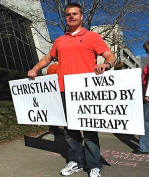 Christian and gay, anti-gay therapy, protestor, ex-gay therapy, reparative therapy