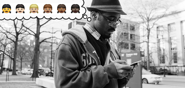 black, smartphone, African-American, man, hipster, glasses, hat, photograph, black and white photo, race, iOS, iPhone