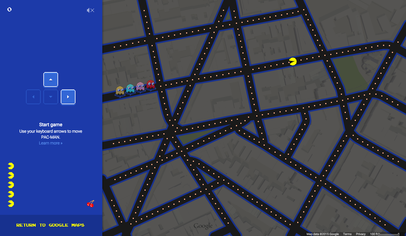 google maps pacman, google maps pac-man, pac-man on map, play pac-man on your own address
