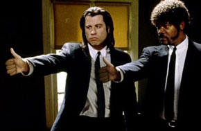 samuel jackson, john travolta, pulp fiction, gay blog, thumbs up, bisexual, smile