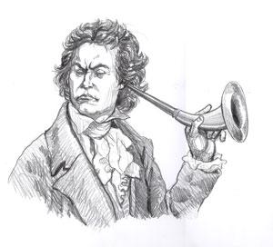 Beethoven, ear horn, deaf, gay blog, drawing