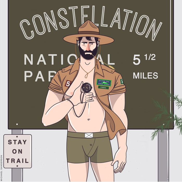 virgo, Michael Sanderson, Constellation Park, gay blog, drawings, art, prints, zodiac, horoscope