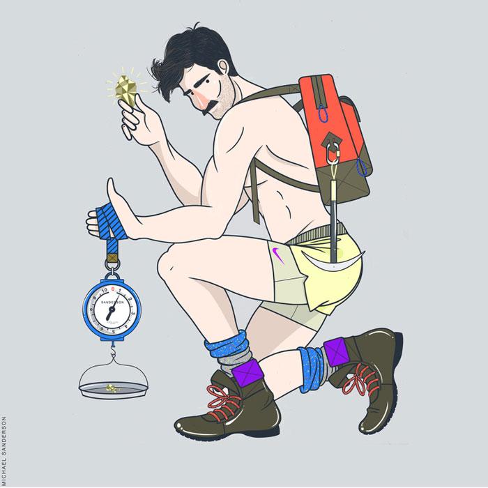 libra, Michael Sanderson, Constellation Park, gay blog, drawings, art, prints, zodiac, horoscope