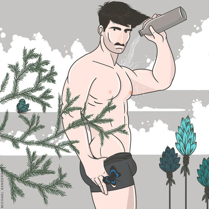 aquarius, Michael Sanderson, Constellation Park, gay blog, drawings, art, prints, zodiac, horoscope