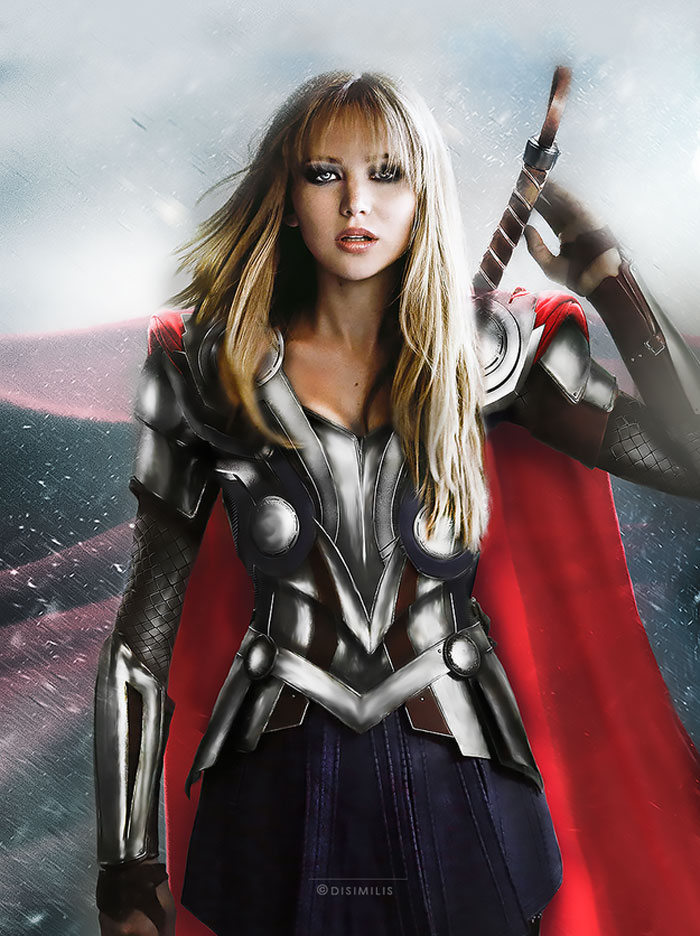 Jennifer Lawrence , avengers, gender swap, hawkeye, loki, black widow, iron man, the hulk, dr. bruce banner, thor, captain america, gay blog, tumblr, lgbt, queer, women, superheroes, marvel