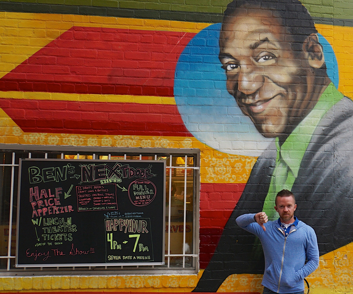 bill cosby, the cosby show, rapist, comedy, mural, thumbs down