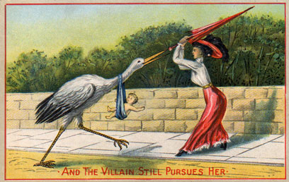 Victorian postcard about family planning