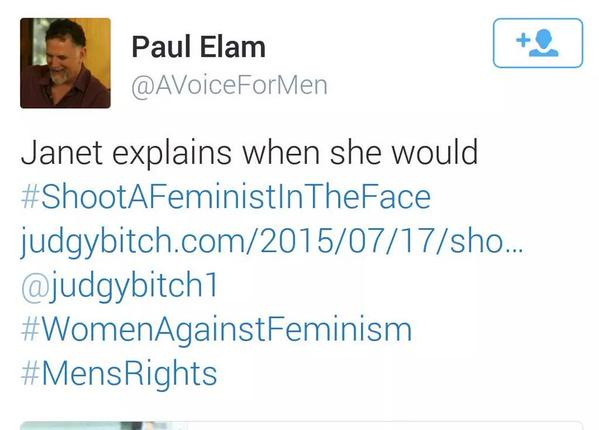Men's rights activist and pants-shitting deadbeat dad suggests shooting feminists in the face