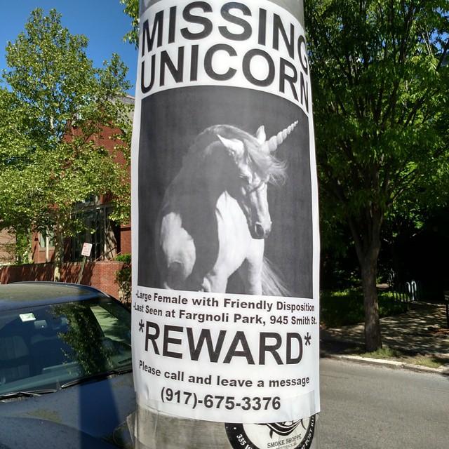 Randall Goya, Unicorns In Residence, missing sign