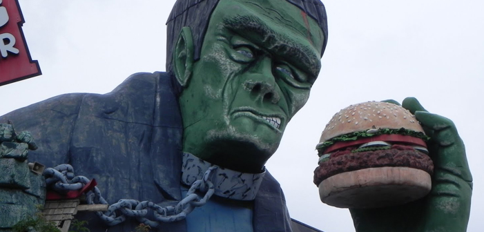 frankenburger, monster, meat, food, frankenstein, burger