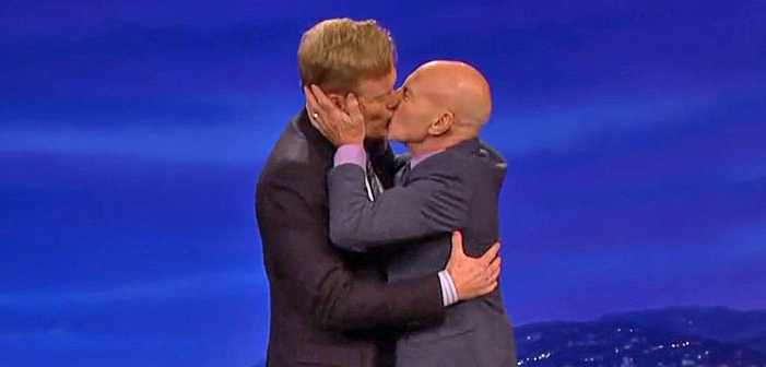 Patrick Stewart, kiss, Conan O'Brien, gay