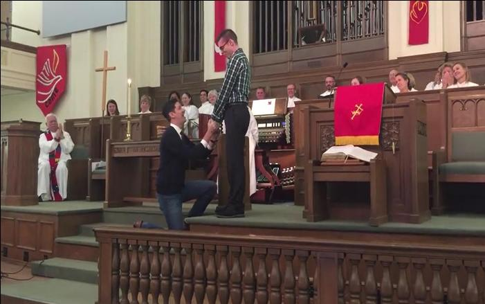VIDEO: Same-Sex Couple Gets Engaged In Front Of Loving Church