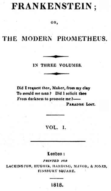 The original 1818 title page of Mary Shelley's novel