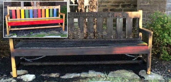 Arsonist Torches Rainbow Bench At Presbyterian Church
