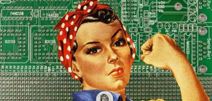 women, tech, Rosie the Riveter, modern