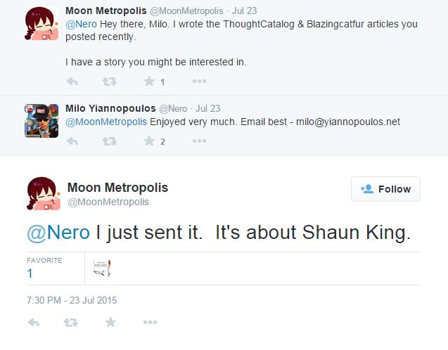 Screenshot of Twitter conversation between Milo Yiannopoulos and Joshua Goldberg
