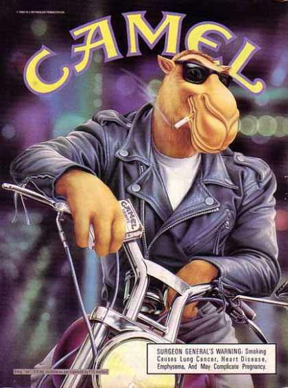 Joe Camel, on a motorbike, definitely not appealing to children.
