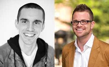 LGBT health advocate Daniel O'Neill (left) and HIV news and advocacy blogger Josh Robbins (right)