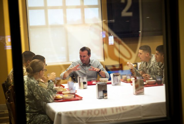 Eric K. Fanning, acting under secretary of the Army, shares breakfast with Soldiers of the 18th Field Artillery Brigade at Fort Bragg, N.C., Aug. 11, 2015. Photo Credit: Staff Sgt. Charles Crail/US Army