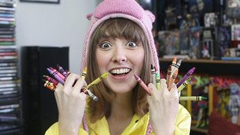 crayons, girl, woman