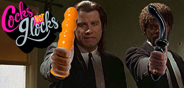 CocksNotGlocks, Cocks Not Glocks, protest, dildo, Pulp Fiction