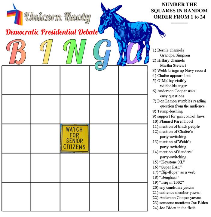 Democratic Primary Debate Bingo